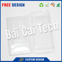 Durable hard plastic tray type cell phone blister packaging