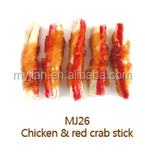 pet food chicken and red crab stick for dog treat dog snack