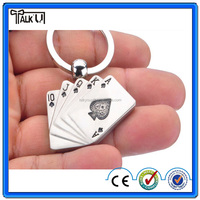 Hot innovative gift zinc alloy playing card metal keychain with ring for sale, OEM poker game credit card metal keychain