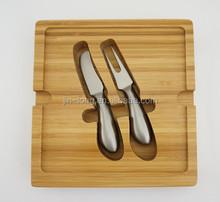 Mini bamboo cheese cutting board Cheese and cheese spread knife