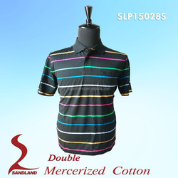 Men's double mercerized cotton knit golf polo shirt China's Manufacturer & exporters