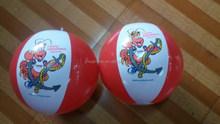 """PVC inflatable beach ball, red & white , 33cm ,18"""" ball"""