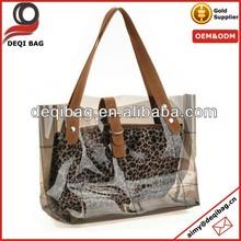 Fashion Women's Transparent Leopard Bag Tote Shopper Beach Big Bags Shoulder Travel Beach Bag