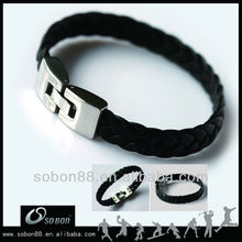 magnetic clasp leather bracelet weave styles