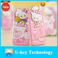 Kitty Cat Cute Ladies gift Leather Flip Cover Case for iphone 6 4.7""