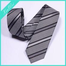 Gray & Black Mens Microfiber Stripe Necktie