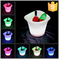 Free Shipping 16 color changing luminous plastic beer rechargeable led ice bucket Illumianted waterproof IP65 wine cooler