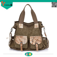 crazy horse leather new design leisure canvas shoulder bags high quality travel bags