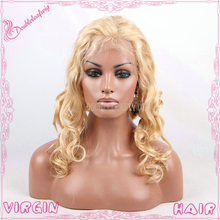 Loose curly blonde human hair wigs malaysian virgin lace front human hair full lace wigs with free parting for sexy women