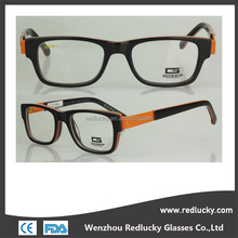For reading glasses acetate optical frames with metal legs