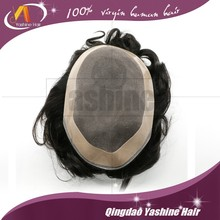 factory price natural color virgin 100% human hair piece mens toupee