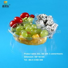 Made in China clear plastic recyclable fresh-cut fruit tray SGL-180 three compartments