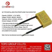 Free Samples! Polypropylene safe capacitor X2 for hair dryers application 684K275V