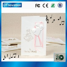 2015 custom music 3d wedding card with beautiful embellishments