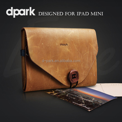 d-park 2015 New Wholesale Premium Vintage Luxury Genuine Leather Case for iPad Mini 4 Tablet Covers Cases Factory