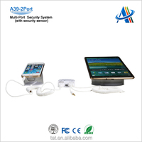 Multi-port display security system with power and alarm for cell phone/tablet,with 2 USB port,infrared remote control