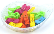 Colourful Flower design Strong Plastic Clothes Hanger pegs with basket