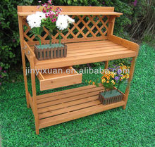 Patio Wooden Potting Bench with Lattice & Drawer