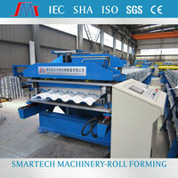 European Standard Big Wave Glazed Roof Tile Roll Forming Machine from Smartech Machinery