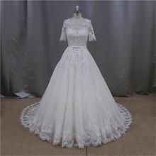 2015 China knee length lace wedding dress short sleeve