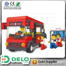 Artículos de regalo promocional bloques de construcción de plástico estación de autobuses autobús escolar juguete DE0083160