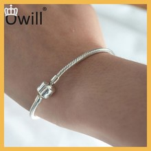 Hot Sale 2015 Fashion Silver Jewelry 925 Silver Charm Bracelet Snake Chain Bracelet With Bead New Product For DIY Jewelry
