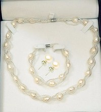 100% Real Freshwater Pearl Set Necklace + Earring + Bracelet Jewelry Big Pearl Sets Trio Set