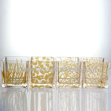 glass vase with animal design ,zebra stripe,leopard print,giraffe pattern in gold color