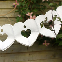 Chic Boutique Tissue Heart Garland Bunting Ivory Wedding venue Party Decoration