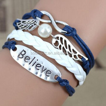 Handmade Fashion Leather Bracelet Wholesale With Metal Believe Word Link Beads And Wings Beads Bracelet Jewerly