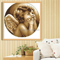 Classic Design 45x45cm Full Embroidery kit setTiger Baby Angel Printing Drawing DIY Cross Stitch Bed Room Wall Home Decoration
