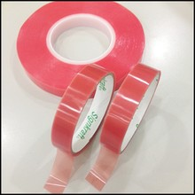 Made in Taiwan products PET Double Sided High Adhesion Tape with red liner apply in stationery, advertising material,sealing