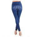 Dama de la moda pantalon vaquero jeans ajustados toga y birrete Adelgazamiento