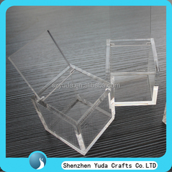 4mm acrylic hinged cube box for candy storage box, crystal clear perspex lovely gift box for firend