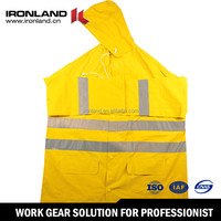 Polyester Durable High Visibility Reflective Rain Coat, Wholesale Cheap Custom Waterproof PVC Raincoat