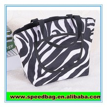 Zebra print small handbag with front zipper bag 600d polyester canvas tote bag
