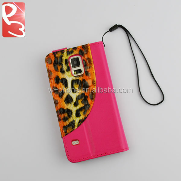 Rose Leopard Skin PU Credit Card Slot Magnetic Strap for Samsung Galaxy S5 Wallet Case Leather