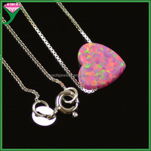 925 silver chains OP22 synthetic opal heart Charms