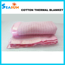 Factory Supply Cotton Knitted Baby Thermal Receiving Blankets with Satin Border