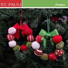 christmas tree wreath hanging decoration and wall ornament suppliers 6 inch red and green knitted wool felt ball