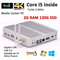 Intel Haswell Core i5 Mini PC Fanless Computer Low Power 12V Power Supply 2.6GHz CPU 2G DDR3L memory 120G SSD storage 300M Wifi