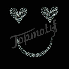 Heart eyes smile face hot fix rhinestone transfer for t Shirt Transfers