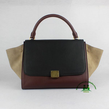 Hot sell nice quality coffee suede kidskin leather handbags designer fashion women handbag dropship NO MOQ