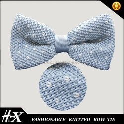 100% polyester knitted bow tie embroidered dots
