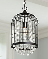black bird cage pendant lights with clear crystal hanging /crystal chandelier