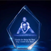 Customized Family 3D Crystal Photo Laser Gift