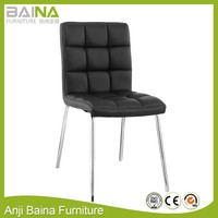 Italian cheap leather hotel high back chrome legs wooden dining chair