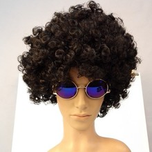 Halloween crazy afro wig , twsit wave afro party wig , wild-curly up hair wig
