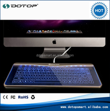 2015 best hot selling waterproof transparent glass mechanical keyboard and mouse with blue backlight for computer and laptop