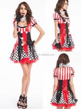 Arlequín bufón del payaso de circo traje + sombrero de Halloween Medieval adultos del vestido de lujo